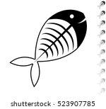 fish skeleton   black vector... | Shutterstock .eps vector #523907785
