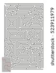 large vector vertical maze with ... | Shutterstock .eps vector #523911979