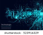 hi tech background circuits... | Shutterstock . vector #523916329