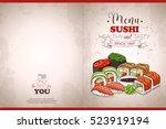 color horisontal sushi menu | Shutterstock .eps vector #523919194