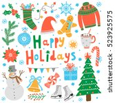 vector happy holidays card.... | Shutterstock .eps vector #523925575