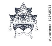 vintage all seeing eye in... | Shutterstock .eps vector #523925785