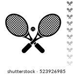 crossed tennis rackets   black... | Shutterstock .eps vector #523926985