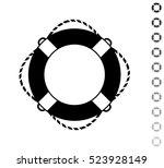 lifebuoy   black vector icon... | Shutterstock .eps vector #523928149
