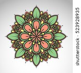 vector abstract flower mandala. ... | Shutterstock .eps vector #523928935
