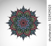 vector abstract flower mandala. ... | Shutterstock .eps vector #523929025