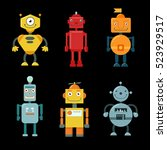 set of cute funny robots on a... | Shutterstock .eps vector #523929517