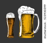 beer glass. vector vintage... | Shutterstock .eps vector #523930399