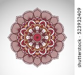 vector abstract flower mandala. ... | Shutterstock .eps vector #523932409