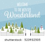cute vector winter background.... | Shutterstock .eps vector #523932505