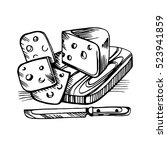 vector sketch of the cheese.... | Shutterstock .eps vector #523941859