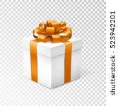 gift box with orange ribbon... | Shutterstock .eps vector #523942201