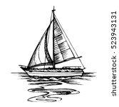 sailing boat vector sketch... | Shutterstock .eps vector #523943131