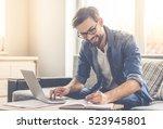 handsome businessman in... | Shutterstock . vector #523945801