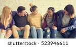 diversity students friends... | Shutterstock . vector #523946611