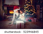 christmas magic gift box ... | Shutterstock . vector #523946845