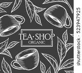 organic green white black tea... | Shutterstock .eps vector #523947925