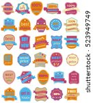 set of thirty badges with... | Shutterstock . vector #523949749