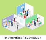 isometric interior of reception.... | Shutterstock .eps vector #523950334