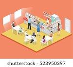 isometric flat 3d concept... | Shutterstock .eps vector #523950397