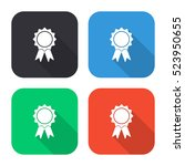 badge with ribbons vector icon  ... | Shutterstock .eps vector #523950655