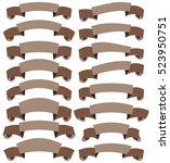 set of beautiful festive brown... | Shutterstock . vector #523950751