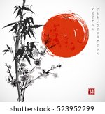 bamboo and sakura in blossom.... | Shutterstock .eps vector #523952299