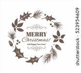 christmas traditional floral... | Shutterstock .eps vector #523954609