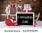 sleigh with gifts  snow ... | Shutterstock . vector #523955059