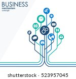 business mechanism concept.... | Shutterstock .eps vector #523957045