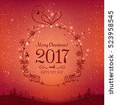 shiny xmas ball for merry... | Shutterstock .eps vector #523958545
