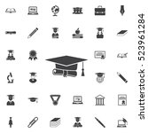 graduation cap and diploma icon.... | Shutterstock .eps vector #523961284