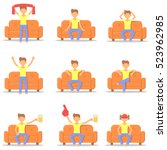 set icon with fashion hairstyle ... | Shutterstock .eps vector #523962985