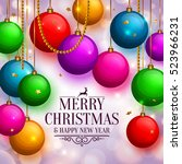 christmas background with... | Shutterstock .eps vector #523966231