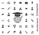 the graduation cap and globe... | Shutterstock .eps vector #523966969