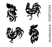 Rooster Logo Icons Vector...