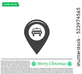map pointer with car icon.... | Shutterstock .eps vector #523974565