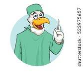 rooser surgeon with scalpel... | Shutterstock .eps vector #523975657