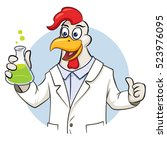 rooster scientist with flask... | Shutterstock .eps vector #523976095