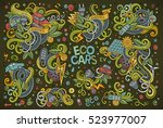 colorful vector hand drawn... | Shutterstock .eps vector #523977007
