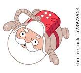 santa floating in space  vector ... | Shutterstock .eps vector #523978954