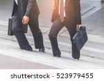 businessman and business woman... | Shutterstock . vector #523979455