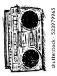 ghetto blaster sketch | Shutterstock .eps vector #523979965