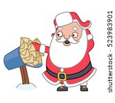 santa claus getting mail ...   Shutterstock .eps vector #523983901