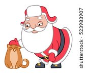 santa claus petting a cat ... | Shutterstock .eps vector #523983907