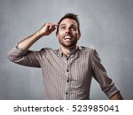 thinking man happy   Shutterstock . vector #523985041