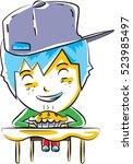 cute little boy eating a pie ... | Shutterstock .eps vector #523985497