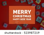 merry christmas and happy new... | Shutterstock . vector #523987219
