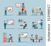 linear flat businesspeople... | Shutterstock .eps vector #523988017