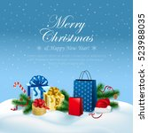 merry christmas and happy new...   Shutterstock .eps vector #523988035